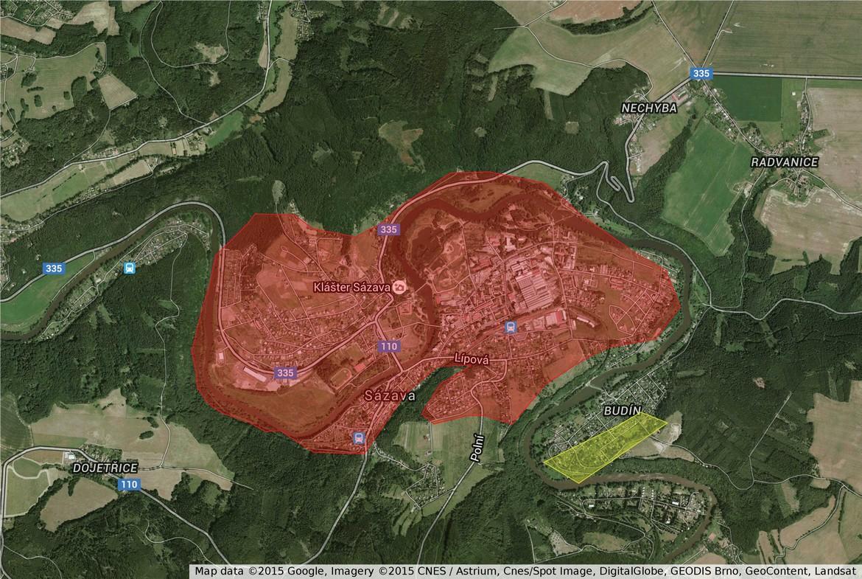 Sázava pokrytí internetem (mapa)