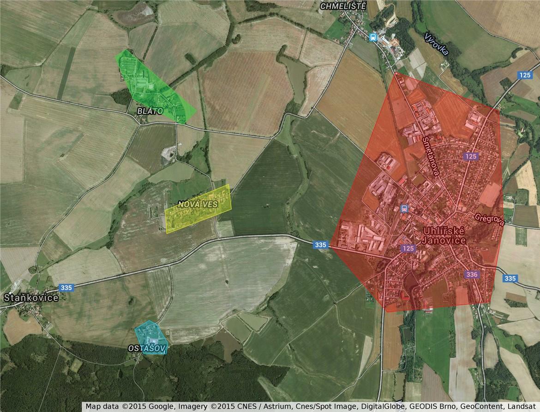 Pokrytí Uhlířské Janovice (mapa)